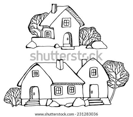 Cartoon Hand Drawing Houses Stock Vector Royalty Free 231283036