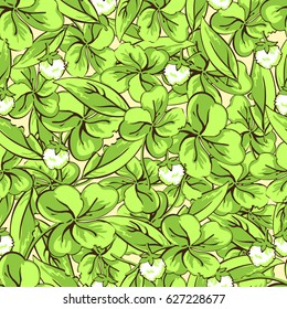 Cartoon hand drawing leaves and flowers of clover seamless pattern, vector background. For fabric design, wallpaper, wrapper, print, decoration