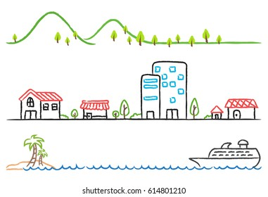 Cartoon hand drawing of small town, green mountain and boat in the sea.