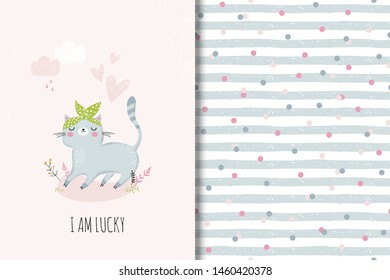 Cartoon racсoone hand drawn card and seamless pattern