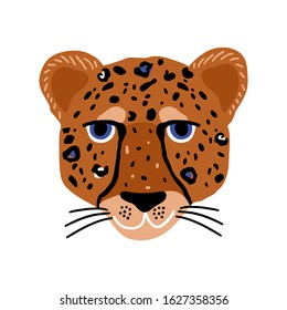 Cartoon hand drawn cheetah head . African modern vector illustration of leopard head isolated on white.