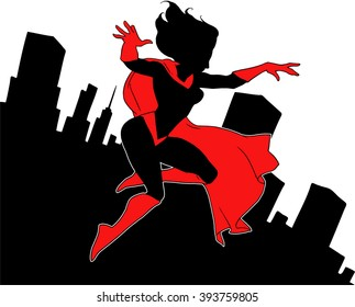 Cartoon hand drawn illustration of a flying strong super lady in black silhouette