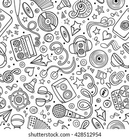 Cartoon hand drawn musical seamless pattern. Lots of symbols, objects and elements. Perfect funny vector background.