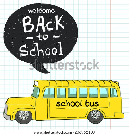 Cartoon Hand Drawn School Bus Doodle Stock Vektorgrafik Lizenzfrei