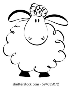 Cartoon hand drawn sheep