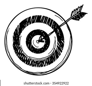 Cartoon hand drawn target, isolated on white, vector illustration