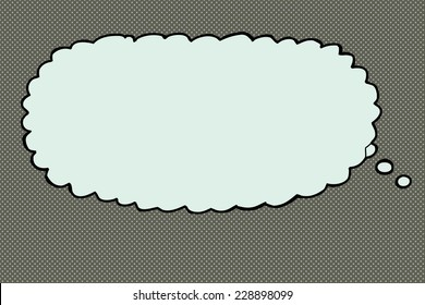 Cartoon hand drawn thought bubble over halftone
