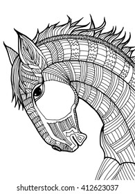 Cartoon, hand drawn, vector doodle illustration of horse. Motive of nature