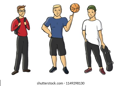 Cartoon hand drawn vector illustrarion of different boys types: clever nerd, sportsman jock and skater hipster isolated on a wight background