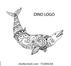 Cartoon, hand drawn, vector illustration Doodle dinosaur. The motif of the Jurassic life. Basilasaurus is a giant carnivorous creature similar to a whale. Antistress Coloring book for adults.