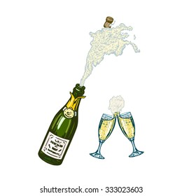 cartoon, hand drawn, vector, linear, sketch, illustration of bottle of champagne with foam and glasses of champagne