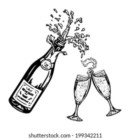 cartoon, hand drawn, vector, sketch, illustration of bottle of champagne and glasses of champagne