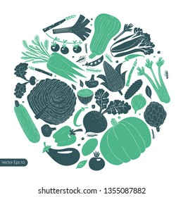 Cartoon hand drawn vegetables design template. Monochrome graphic. Vegetables background. Linocut style. Healthy food. Vector illustration