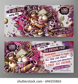 Cartoon hand drawn watercolor doodles Ice cream banners design template. Very detailed, with lots of separated objects illustration. Funny vector artwork.