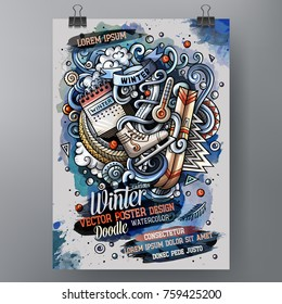 Cartoon hand drawn watercolor doodles Winter poster design template. Very detailed, with lots of separated objects illustration. Funny vector artwork.