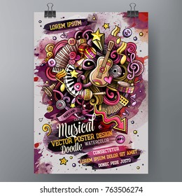 Cartoon hand drawn watercolor doodles Music poster design template. Very detailed, with lots of separated objects illustration. Funny vector artwork.