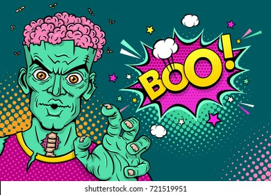 Cartoon hand drawn zombie with brains out, rises his hands and says Boo! in a speech bubble. Vector illustration in retro comic style. Colorful pop art background. Halloween monster party invitation poster.