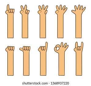 Cartoon hand gesture is like kid's drawing vector illustration set.