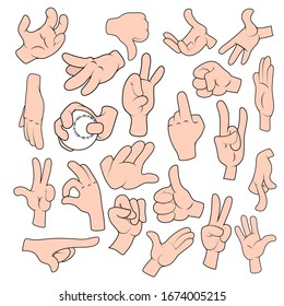 Cartoon Hand gestures in different positions set isolated