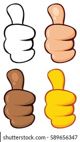 Cartoon Hand Giving Thumbs Up Gesture. Vector Collection Set Isolated On White Background