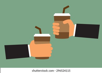 cartoon hand hold paper cup or take-home coffee cup and tube, vector illustration.