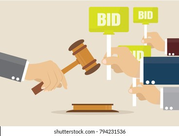 Cartoon, Hand holding auction paddle., vector eps10
