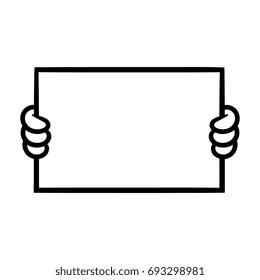 Cartoon Hand Holding Blank Sign Vector Illustration