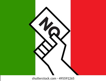 A cartoon hand holding a No vote over Italian national flag for the Italian referendum