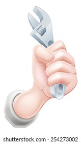 A cartoon hand holding a spanner or wrench