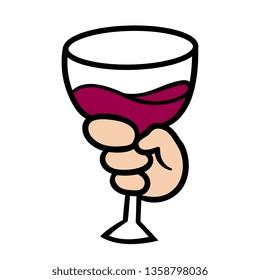 Cartoon Hand Holding Wine Glass