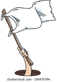 A cartoon hand holds and waves a white flag of surrender.