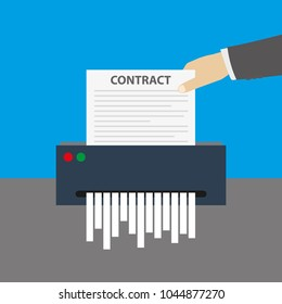 Cartoon hand inserts the contract document into the paper shredder,cartoon vector illustration