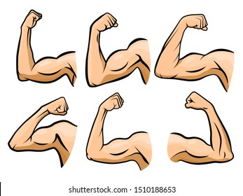 Cartoon hand muscle. Strong arm, boxer arms muscles and strength hands hard gym. Arm fitness guy hand, body muscle flexing or strong biceps logo. Isolated vector illustration icons set
