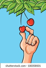 Cartoon hand picking a cherry of a leafy branch