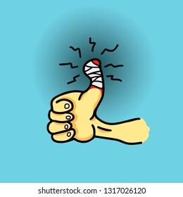 Cartoon of a hand with a throbbing bandaged thumb. Vector illustration.