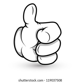 Cartoon Hand - Thumbs Up - Vector Illustration