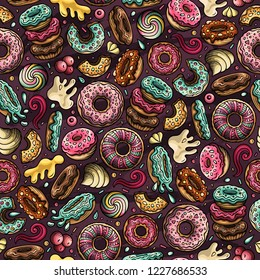 Cartoon hand-drawn donuts seamless pattern. Lots of symbols, objects and elements. Perfect funny vector background.