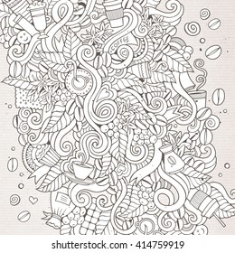 Cartoon hand-drawn doodles coffee time illustration. Sketchy detailed, with lots of objects vector background