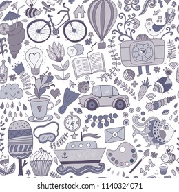 Cartoon hand-drawn doodles in marine style theme, seamless pattern. Colorful vector background