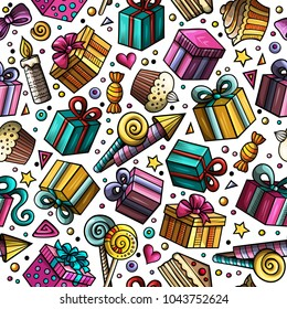 Cartoon hand-drawn doodles on the subject holidays, birthday theme seamless pattern. Colorful detailed, with lots of objects vector background.