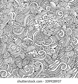 Cartoon hand-drawn doodles on the subject of Africa style theme seamless pattern. Line art vector background