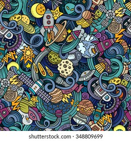 Cartoon hand-drawn doodles on the subject of space style theme seamless pattern. Vector  background