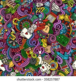 Cartoon hand-drawn doodles on the subject of casino style theme seamless pattern. Vector color background