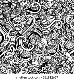 Cartoon hand-drawn doodles on the subject of Africa style theme seamless pattern. Vector trace background