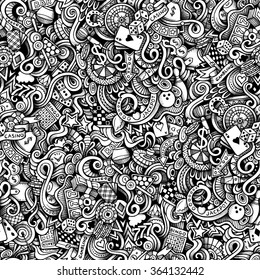 Cartoon hand-drawn doodles on the subject of Casino style theme seamless pattern. Vector trace background
