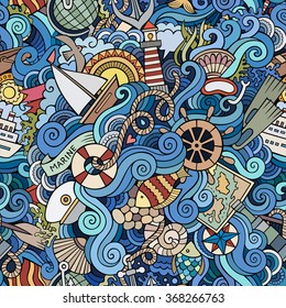 Cartoon hand-drawn doodles on the subject of marine style theme seamless pattern. Colorful vector background