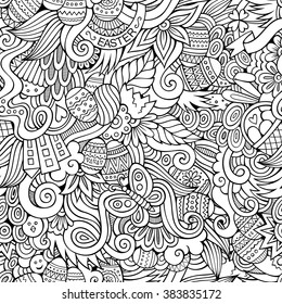 Cartoon hand-drawn doodles on the subject Easter theme seamless pattern. Line art sketchy detailed, with lots of objects vector background