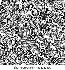 Cartoon hand-drawn doodles on the subject of japanese cuisine theme seamless pattern. Line art trace detailed, with lots of objects vector background