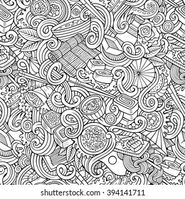 Cartoon hand-drawn doodles on the subject of japanese cuisine theme seamless pattern. Line art detailed, with lots of objects vector background