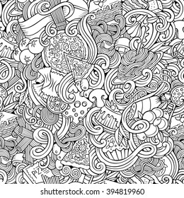 Cartoon hand-drawn doodles on the subject of Italian cuisine theme seamless pattern. Line art detailed, with lots of objects vector background